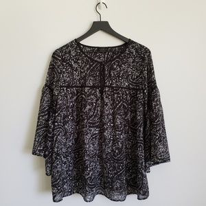 Lucky Brand  Size 1X Black blouse